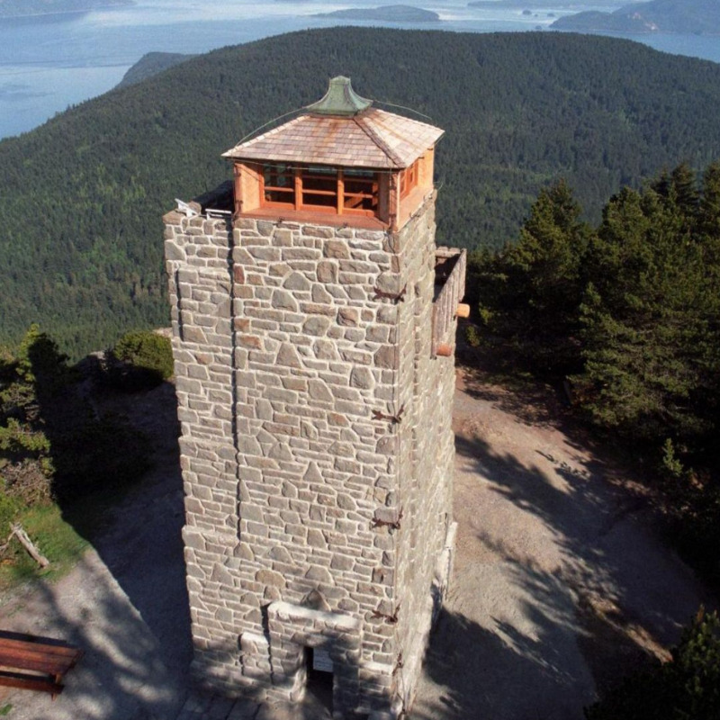 Image of large stone toward atop highest point on Orcas Island, one of the San Juan Islands in Washignton State.