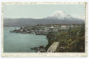 Postcard illustration of Tacoma waterfront with Mt. Rainier in background.
